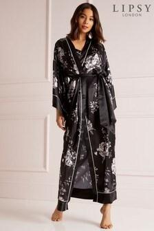 Lipsy Satin Floral Maxi Kimono Robe