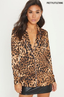 PrettyLittleThing Leopard PJ Style Shirt With Contrast Piping