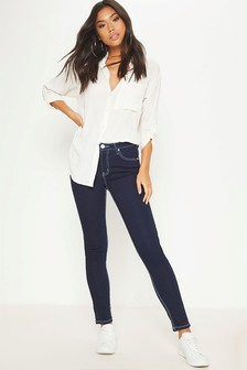 PrettyLittleThing Contrast Stitch Skinny Jeans