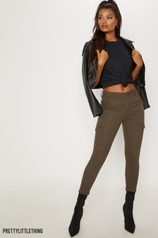 PrettyLittleThing 5-Pocket-Skinny-Jeans im Utility-Stil, khaki