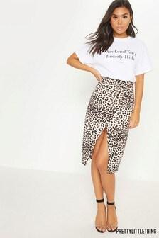 PrettyLittleThing Leopard Wrap Skirt