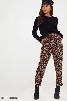 PrettyLittleThing Leopard Print Casual Trouser