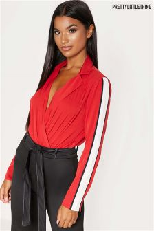 PrettyLittleThing Sports Stripe Wrap Collared Bodysuit