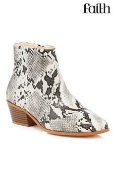 Faith Western Snake Ankle Boots