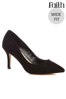 Faith Wide Fit Kitten Heel Courts