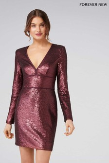 Forever New Sequin V neck Long Sleeve Sequin Dress