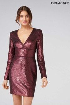 Sukienka z długim rękawem i dekoltem w szpic Forever New z cekinami