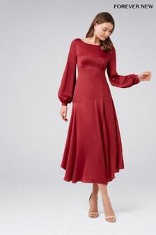 Satynowa sukienka z rozcięciem z przodu Forever New