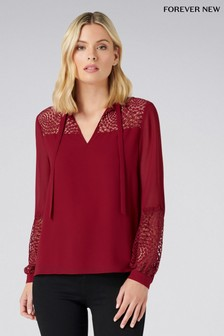 Forever New Lace Tie Neck Blouse