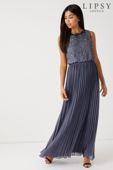 Lipsy Petite Sofia Sequin Top Pleated Skirt Maxi Dress