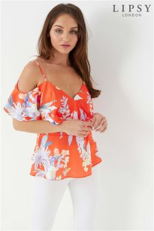 Lipsy Amy Print Satin Cold Shoulder Top