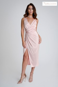 The Girl Code Stretch Satin Drape Wrap Dress