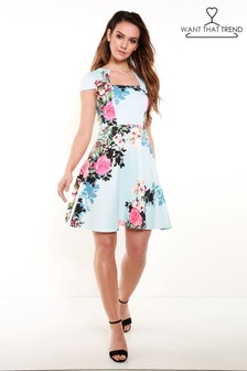 Want That Trend Floral Print Skater Dress