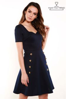 Want That Trend Military Skater Dress