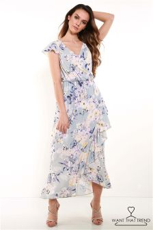 Want That Trend Floral Print Wrap Ruffle Maxi Dress