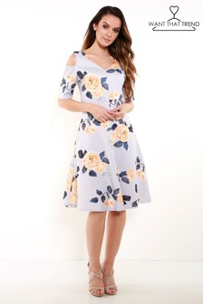Want That Trend Floral Print Cold Shoulder Skater Dress