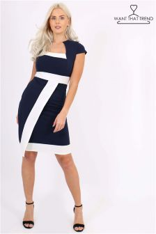 Want That Trend Striped Bodycon Midi Dress