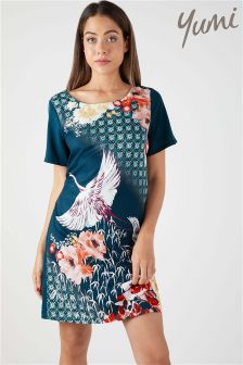 Yumi Oriental Floral Heron Tunic Dress