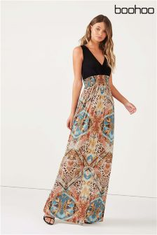 Boohoo Scarf Print Maxi Dress