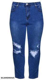 Glamorous Curve Gerippte Skinny-Jeans mit hoher Taille