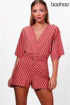 Boohoo Knot Front Kimono Striped Playsuit