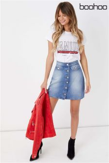 Boohoo Pocket Front Denim Button Mini Skirt