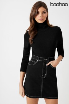 Boohoo Contrast Stitch Denim Skirt