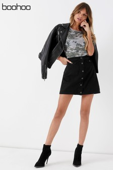 Boohoo Pocket Front Denim Button Skirt