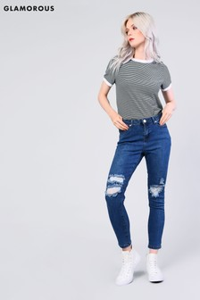 Glamorous Zerrissene Skinny-Jeans mit hoher Taille