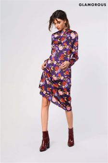 Glamorous Printed Long Sleeve Skater Dress