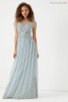 שמלת מקסי מעוטרת עם חצי שרוול ומחשוף חצי שקוף של Maya