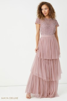Maya Embellished Bodice Tiered Maxi Dress With Cap Sleeves