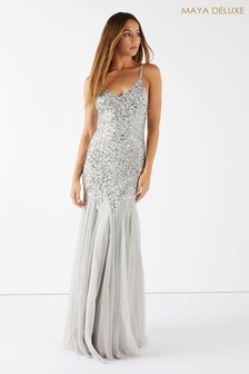 Maya V neck Sequin Fishtail Maxi Dress