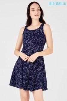 Blue Vanilla Polka Dot Skater Dresses