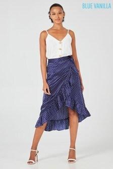 Blue Vanilla Polka Dot Wrap Skirt