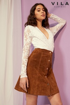 Vila High Waist Suede Skirt