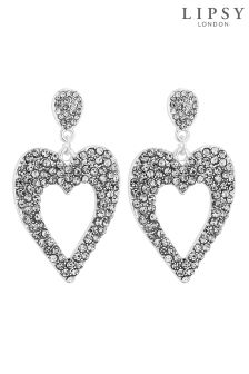Lipsy Crystal Heart Drop Earrings