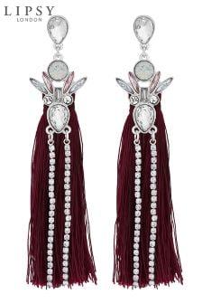 Lipsy Crystal Statement Tassel Drop Earrings