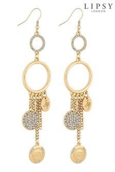 Lipsy Crystal Pave Charm Drop Earrings