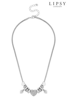 Lipsy Pave Crystal Heart Charm Necklace