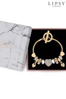 Lipsy Pave Crystal Heart Charm Bracelet