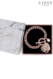 Lipsy Crystal Encrusted Heart Gift Bracelet