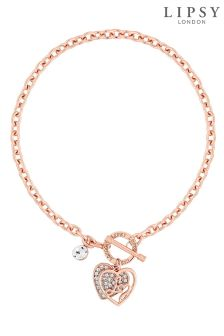 Lipsy Crystal Encrusted Heart Gift Necklace