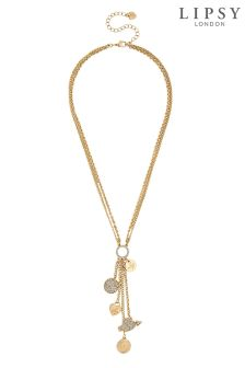 Lipsy Crystal Pave Charm Drop Necklace