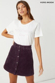 Vero Moda Petite High Waist A-Shape Corduroy Skirt