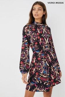 Vero Moda Petite Long Sleeve Print Knee Dress