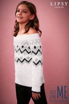 Jersey de niña con hombros descubiertos y grecas alpinas de Lipsy