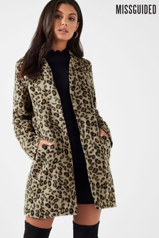 Missguided Leopard Tailored Coat