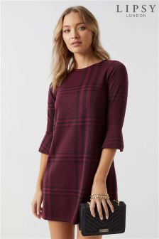 Lipsy Check Flute Sleeve Shift Dress