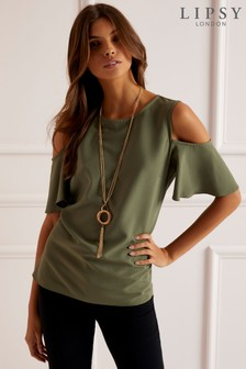 Lipsy Cold Shoulder Necklace Top